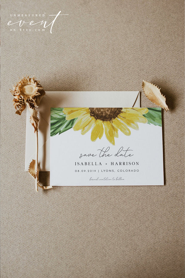 EMMA | Rustic Sunflower Wedding Save the Date Template