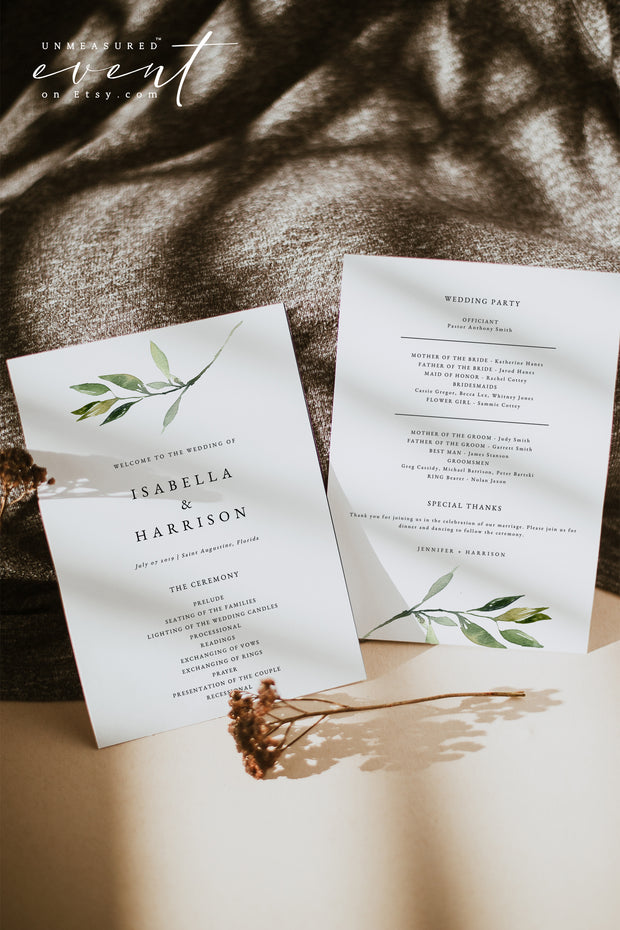 ISABELLA | Minimal Greenery Printable Wedding Program Template