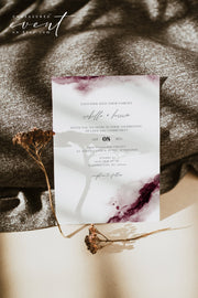 SCARLETT | Abstract Burgundy Watercolor Wedding Invitation Template