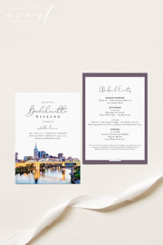 PAISLEY | Watercolor Nashville Bachelorette Invitation & Itinerary Template