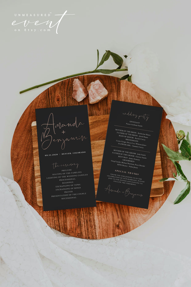 IRA | Faux Rose Gold Foil and Black Wedding Invitation Template Bundle