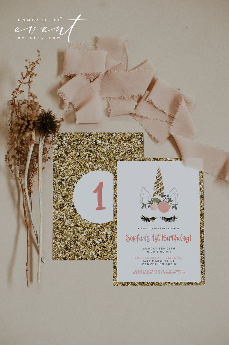 SERENA | Gold Glitter and Pink Printable Unicorn Birthday Invitation Template