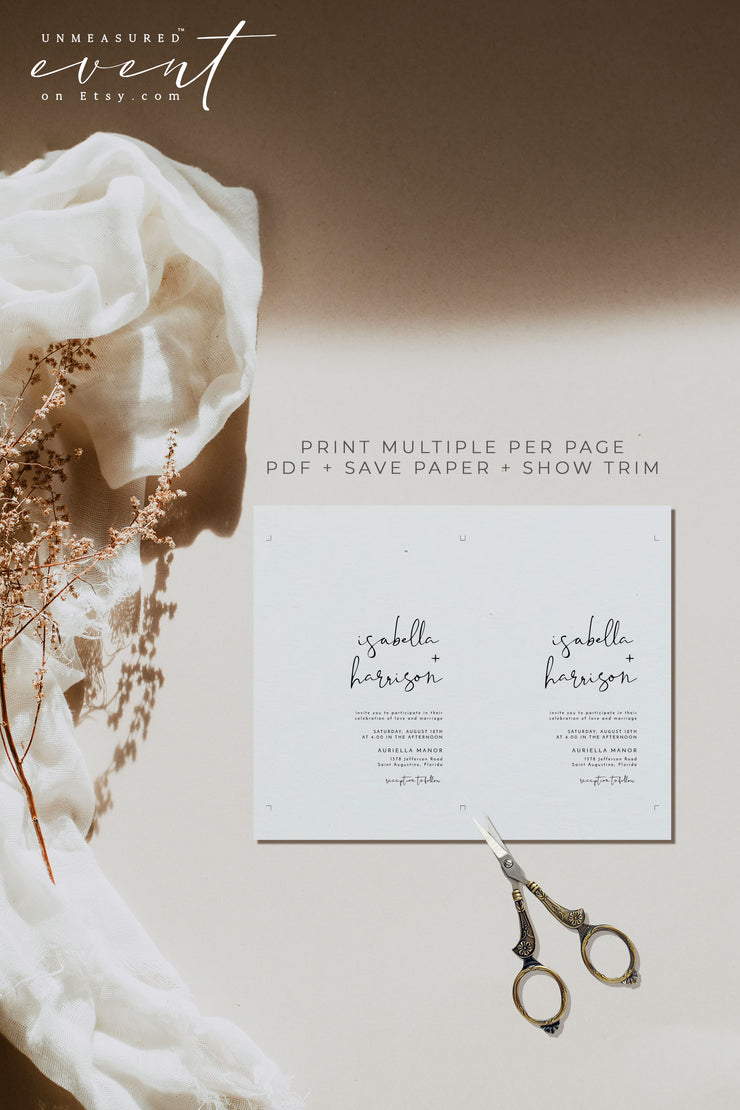 ADELLA | Modern Minimalist Printable Wedding Invitation Template Suite