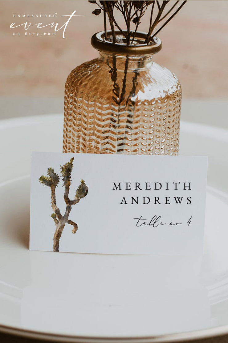 GRETA | Bohemian Watercolor Joshua Tree Printable Wedding Place Card Template