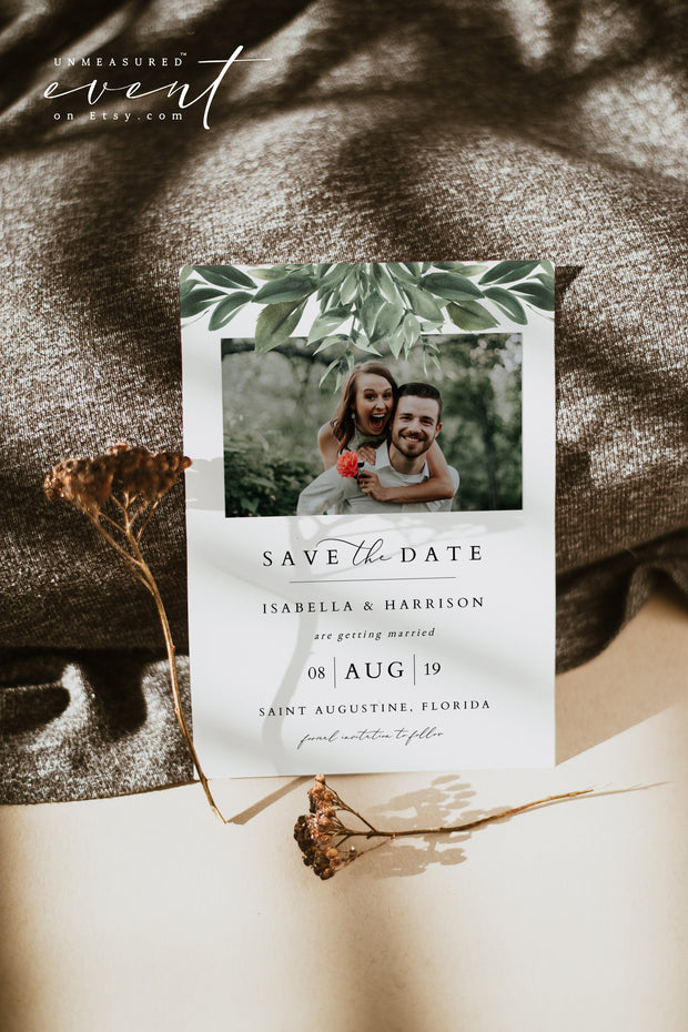 LANA | Modern Bohemian Greenery Printable Photo Save the Date Template
