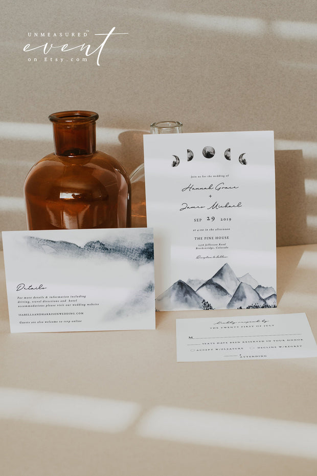 DENALI | Bohemian Mountain & Moon Wedding Invitation Template Suite