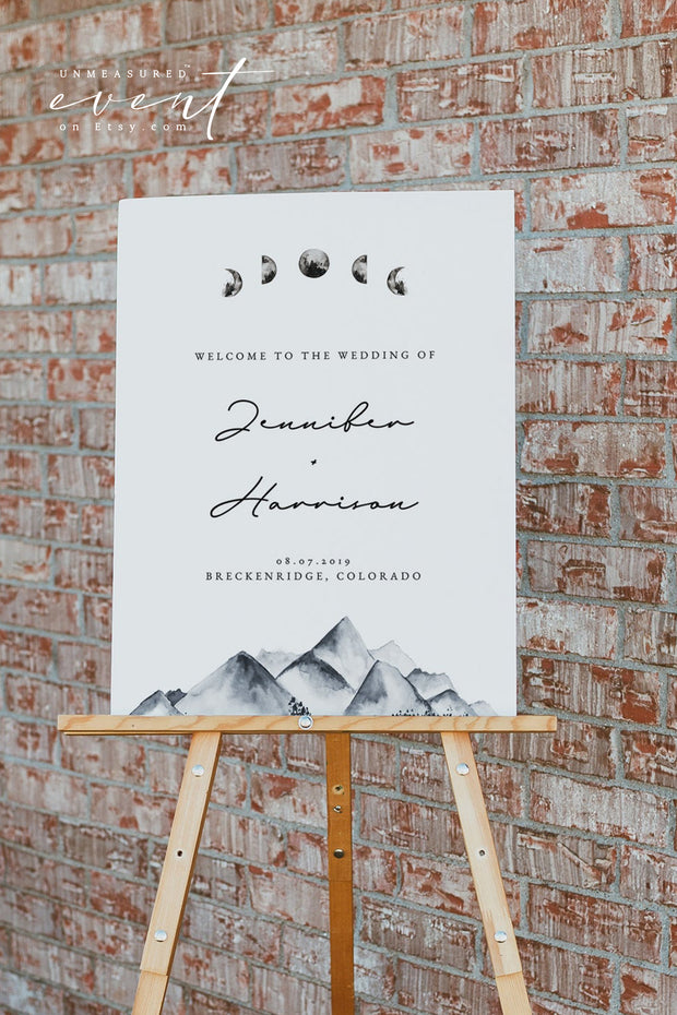 DENALI | Bohemian Mountain & Moon Wedding Welcome Sign Template