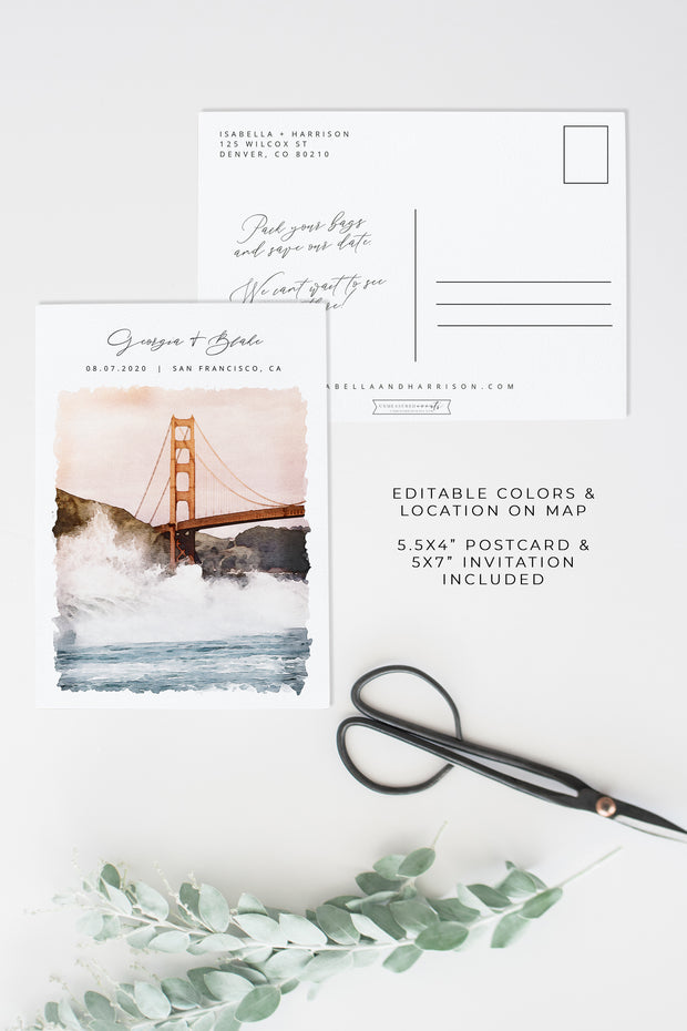 Sadie - Watercolor San Francisco Save the Date Template - Unmeasured Events