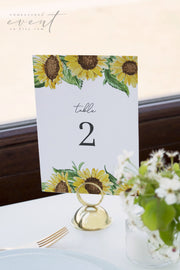 EMMA | Rustic Sunflower Wedding Table Number Template