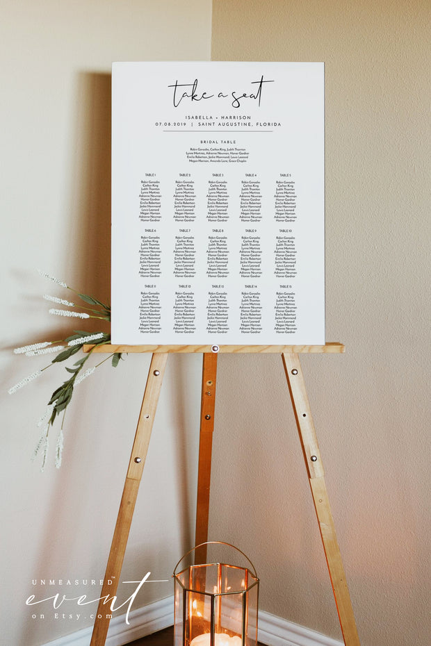 ADELLA | Modern Minimalist Printable Table Seating Chart Template