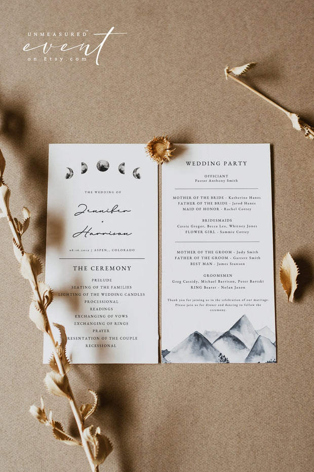 DENALI | Bohemian Mountain & Moon Wedding Program Template