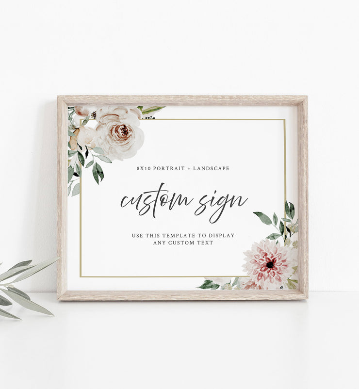 "ROBYN | Blush Floral Custom 8x10"" Wedding Sign Template"