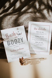 Genna - Rose Gold & Silver Glitter Bach and Boozy Bachelorette Invitation & Itinerary Template - Unmeasured Events