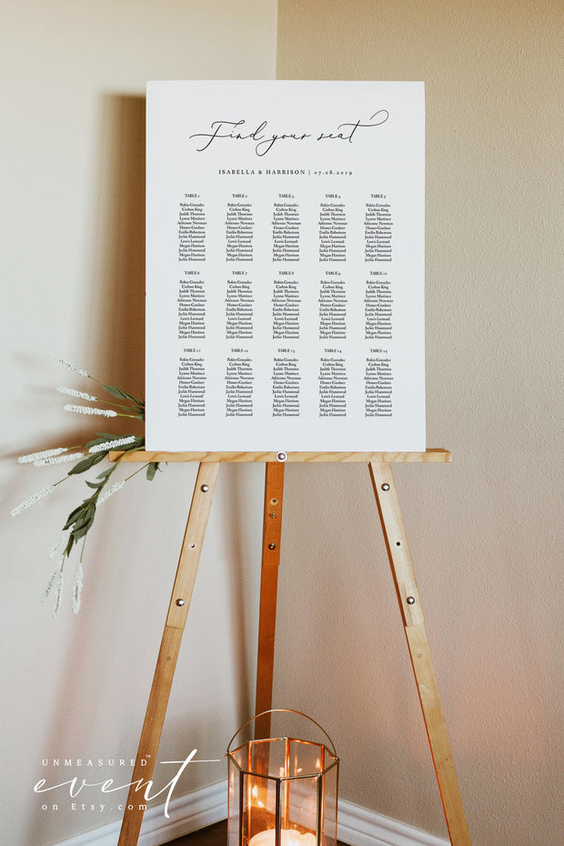 EVELYN | Elegant Minimal Wedding Seating Chart Template