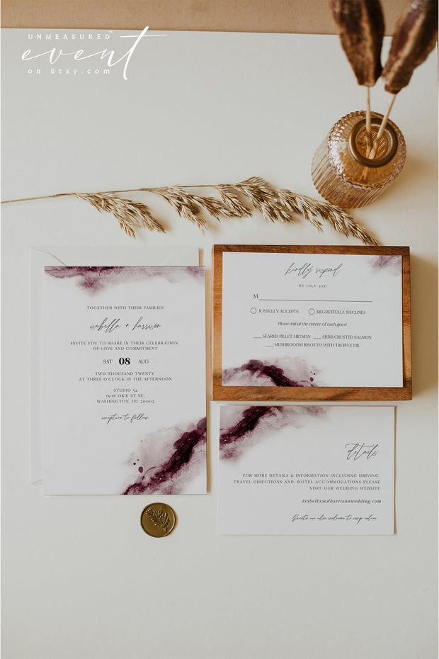 SCARLETT | Abstract Burgundy Watercolor Wedding Invitation Template Suite