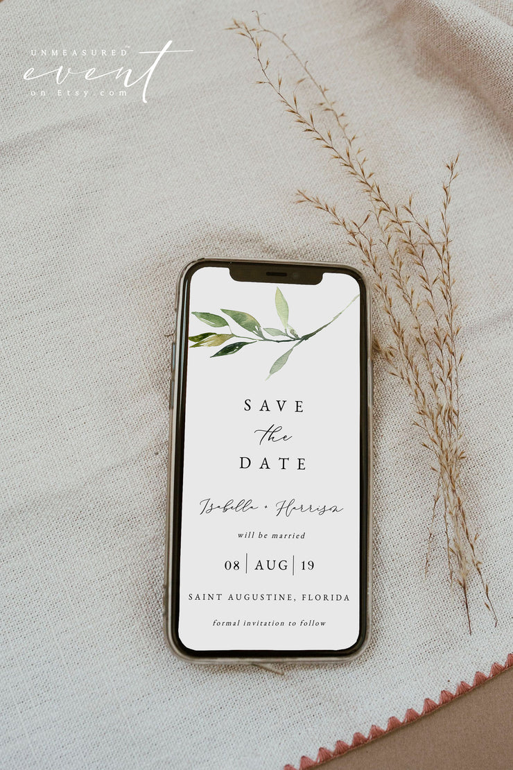 ISABELLA | Minimal Greenery Wedding Save the Date Text Evite Template