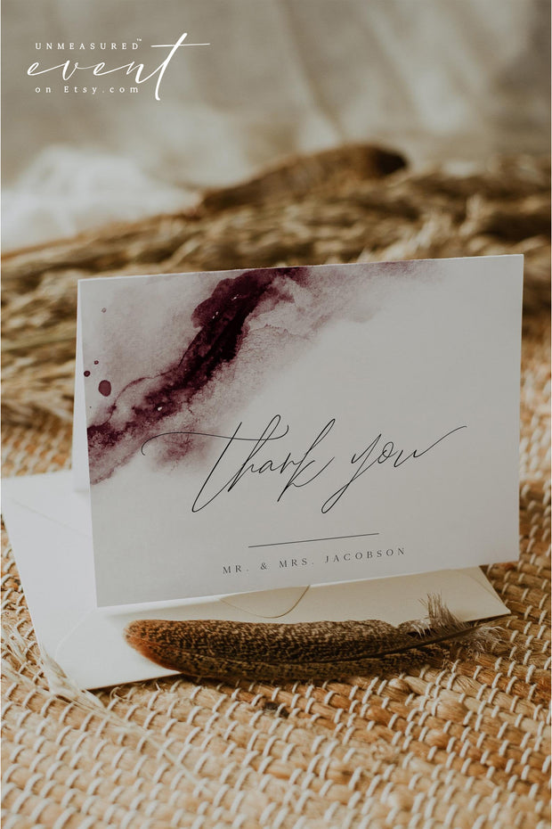 SCARLETT | Abstract Burgundy Watercolor Thank You Card Template