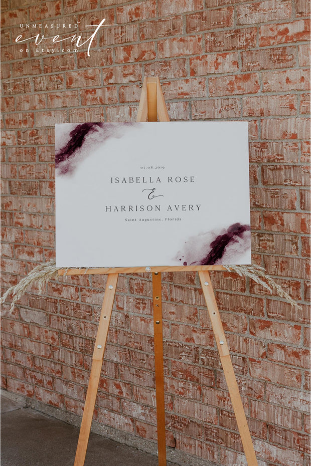 SCARLETT | Abstract Burgundy Watercolor Wedding Welcome Sign Template