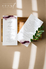 SCARLETT | Abstract Burgundy Watercolor Wedding Invitation Template Bundle