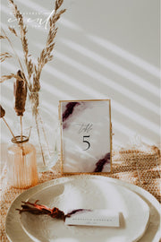 SCARLETT | Abstract Burgundy Watercolor Wedding Table Number Template