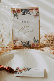 KINSLEY | Terracotta Tropical Bohemian Table Number Template
