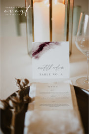 SCARLETT | Abstract Burgundy Watercolor Square Wedding Place Cards Template