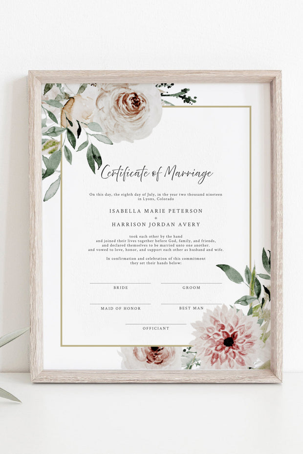 Robyn - Blush Floral Marriage Certificate Template