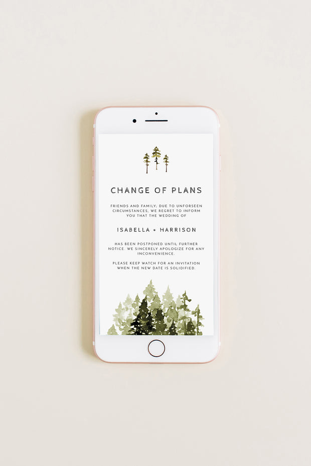 JENNA | Rustic Pine Tree Change of Plans Text Announcement Template