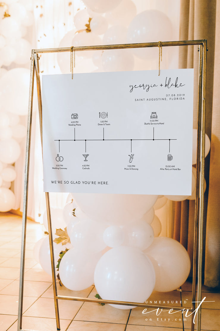 ADELLA | Modern Minimalist Horizontal Wedding Welcome Timeline Sign Template