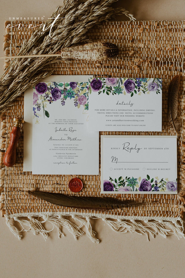 OLIVIA | Purple Floral and Succulent Wedding Invitation Template Bundle