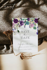 OLIVIA | Purple Floral and Succulent Save the Date Template
