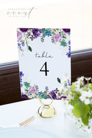 OLIVIA | Purple Floral and Succulent Table Number Template