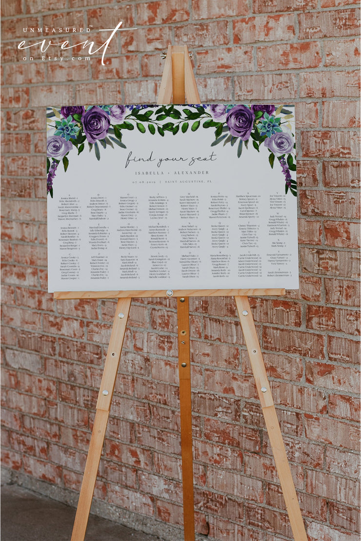 OLIVIA | Purple Floral and Succulent Alphabetical Seating Chart Template