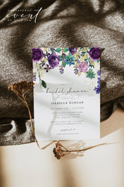 OLIVIA | Purple Floral and Succulent Bridal Shower Invitation Template