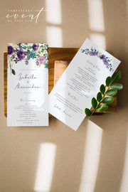 OLIVIA | Purple Floral and Succulent Wedding Program Template