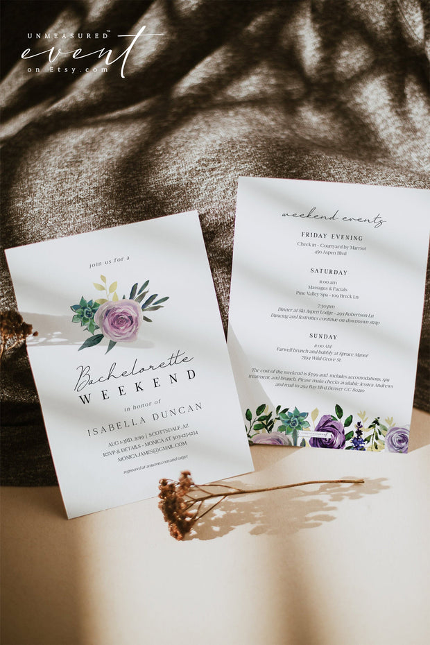 OLIVIA | Purple Floral and Succulent Bachelorette Invitation & Itinerary Template