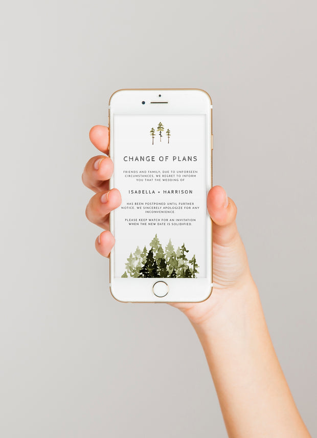 Jenna - Rustic Pine Tree Change of Plans Text Announcement Template
