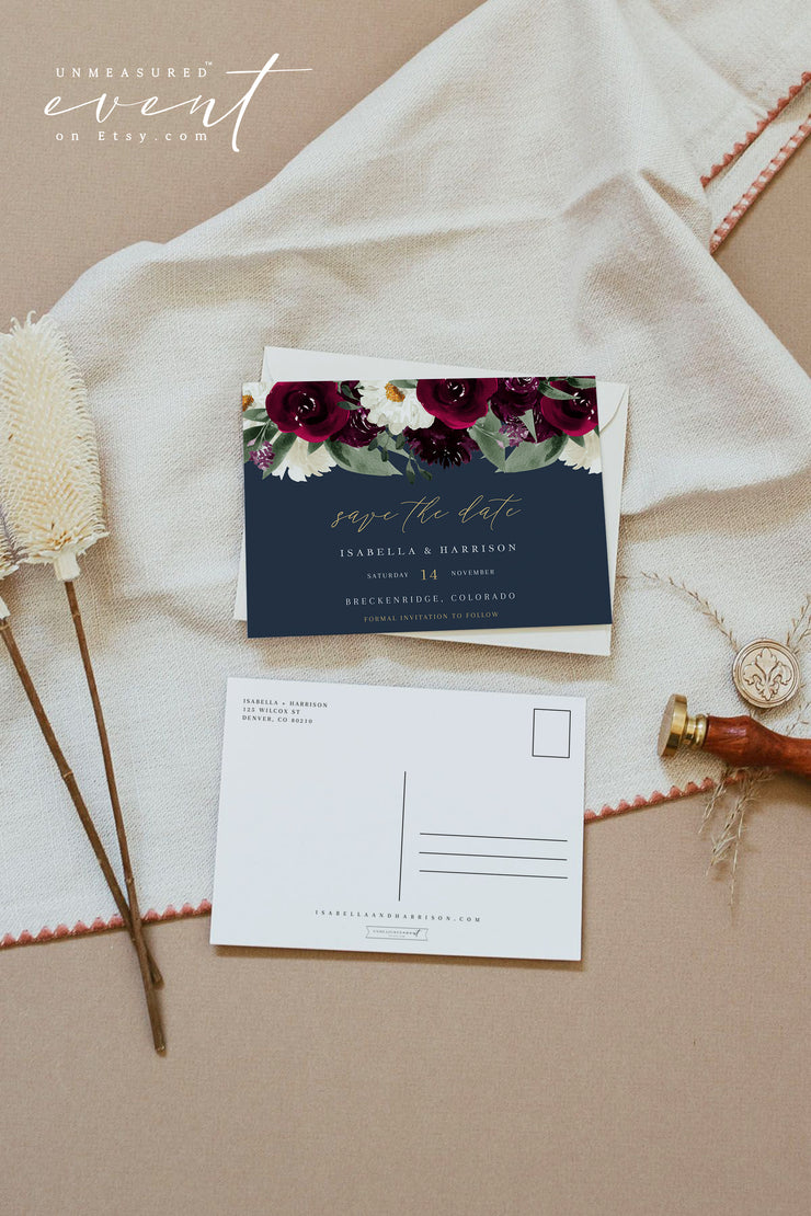 ROSA | Bordeaux Navy & Burgundy Floral Wedding Save the Date Template