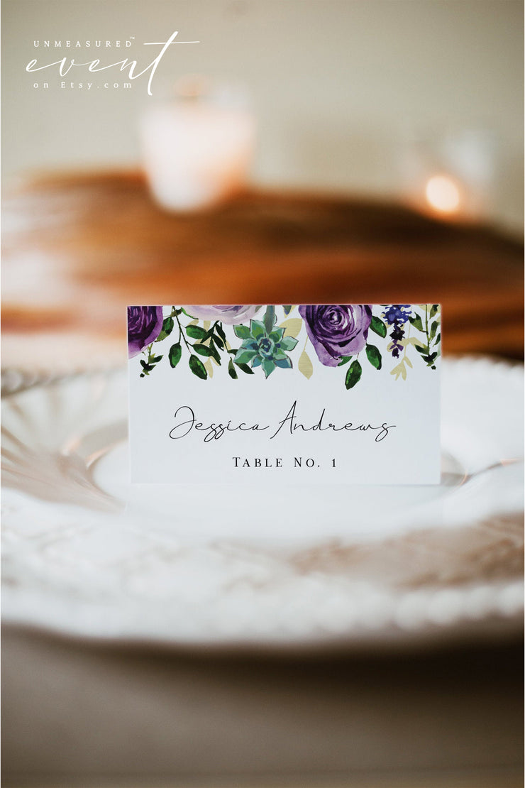 OLIVIA | Purple Floral and Succulent Place Card Template