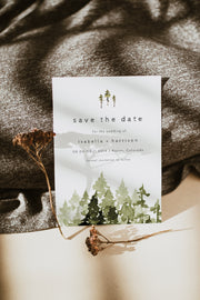 JENNA | Rustic Pine Tree Wedding Save the Date Template