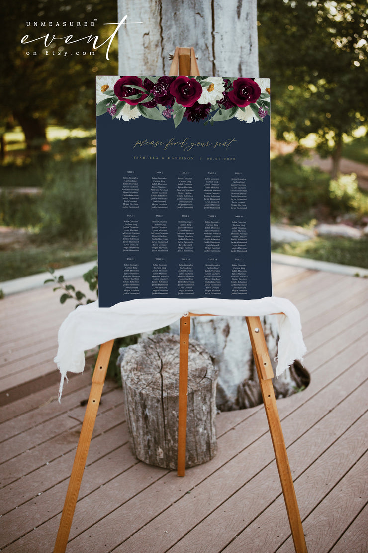 ROSA | Bordeaux Navy & Burgundy Floral Wedding Table Seating Chart Template