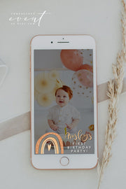 ANSLEY | Bohemian Terracotta Rainbow Editable Snapchat Filter Template
