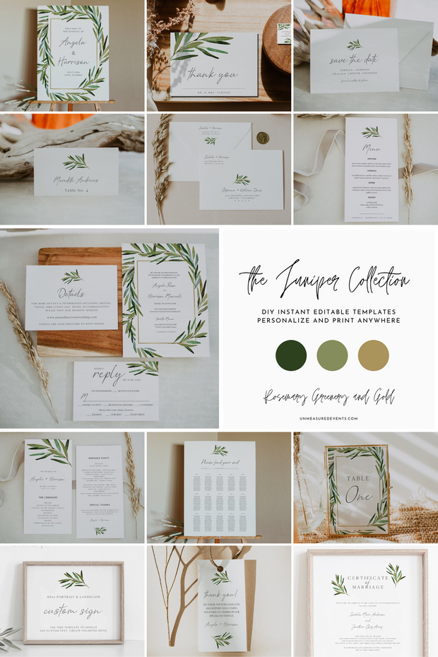 Watercolor Rosemary Greenery and Gold Wedding Invitation Template Bundle for the DIY Budget Bride