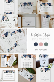 CADENCE | Navy and Blush Floral Wedding Invitation Template Bundle