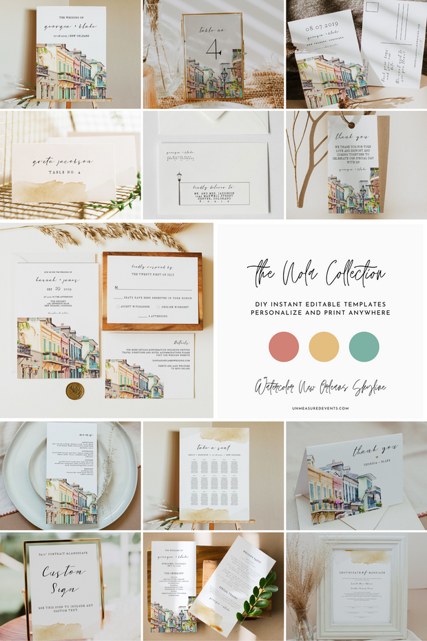 NOLA | Watercolor New Orleans French Quarter Printable Wedding Invitation Template Bundle