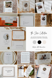 ZARA | Modern Minimalist Photo Printable Wedding Invitation Template Suite