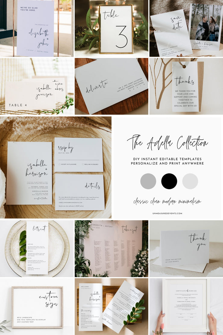 ADELLA Modern Minimalist Wedding Invitation Stationery Templates