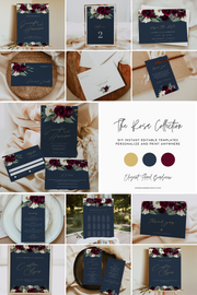 ROSA |  Bordeaux Burgundy & Navy Floral Wedding Large Template Bundle