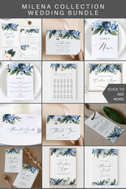 Milena - Dusty Blue Floral Wedding Invitation Template Bundle - Unmeasured Events