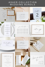 ASHER | Minimalist Calligraphy Wedding Invitation Template Bundle